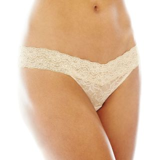 THE BODY Elle Macpherson Intimates Stretch Lace Thong Panties, Toasted Almond
