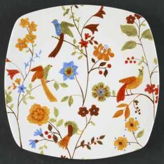 222 Fifth (PTS) Bird Delight White Square Salad Plate, Fine China Dinnerware   F