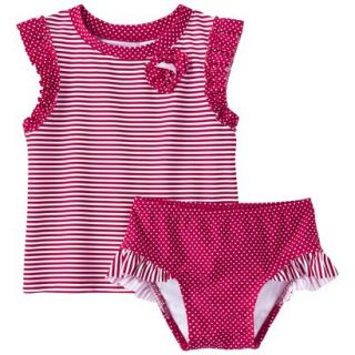 Circo Infant Toddler Girls Stripe Rashguard Set   3T