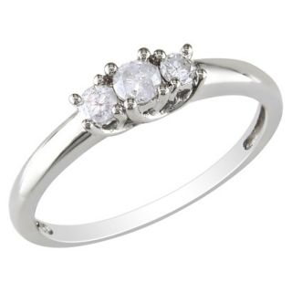 10K White Gold Diamond 3 Stone Ring Silver 9.0