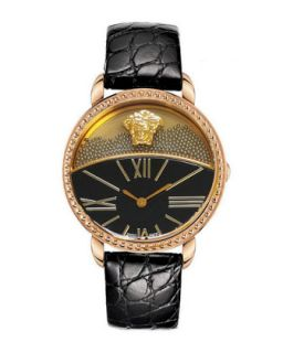 Dual Dial Leather Strap Watch, Black/Rose Golden