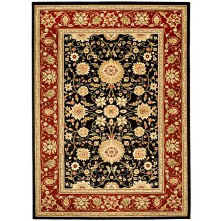 Lyndhurst Collection Majestic Black/ Red Rug (4 X 6)