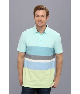 Nautica Engineered Stripe Performance Polo Shirt Mens Short Sleeve Pullover (Blue)