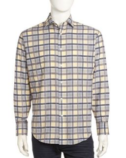 Regular Finish Classic Fit Large Check Sport Shirt, Gray