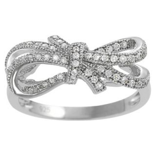 Tressa Sterling Silver Cubic Zirconia Double Bow Ring   Silver