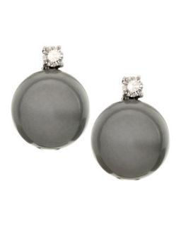 14k White Gold Black Pearl Clip Earrings