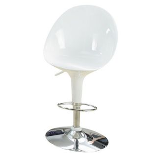 Sybill Adjustable White Chrome Finish Air Lift Stools (set Of 2) (White Materials ABS seat and back, MetalFinish Chrome Adjustable air lift stoolDimensions 36 inches high x 18.5 inches wide x 20 inches deep )