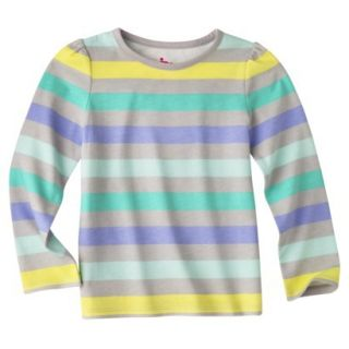 Circo Infant Toddler Girls Long sleeve Stripe Tee   Grey/Green 12 M