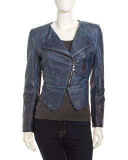 Faux Leather Moto Jacket, Indigo
