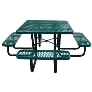 Leisure Craft Commercial Square Expanded Metal Picnic Table Black   T46SQIG