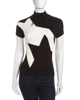 Zip Collar Short Sleeve Sweater, Black/Ivory