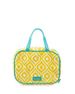 Ikat Print Under Glass Zip Cosmetic Case, Yellow