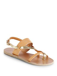 Ancient Greek Sandals Alethea Two Tone Leather Sandals   Cracked Gold