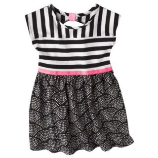 Circo Infant Toddler Girls Short Sleeve Striped Dress   Black/Pink 4T