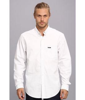 Members Only Oxford Cotton Shirt Mens Long Sleeve Button Up (White)