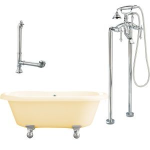 Giagni LP2 PC B Portsmouth Cannonball Foot Dual Tub, Floor Mount Faucet with Han