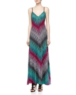 Pliss� Point Stripe Print Maxi Dress, Aqua
