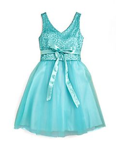 Girls Sequined Lace Party Dress   Teal
