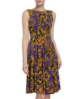 Jersey Print Sleeveless Dress, Purple/Black