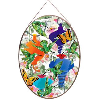Joan Baker Hummingbird Feeders Glass Art Panel (LargeSubject AnimalsImage dimensions 14.25 inches X 19.25 inchesOuter dimensions 14.25 inches X 19.25 inchesThe digital images we display have the most accurate color possiable. However, due to difference