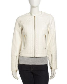 Quilted Faux Leather Moto Jacket, Egret