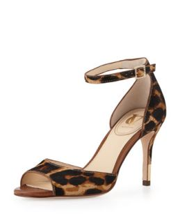 Nilah Leopard Print Calf Hair Sandal, Natural