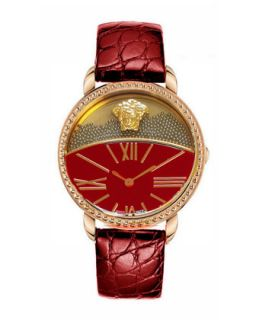 Dual Dial Leather Strap Watch, Red